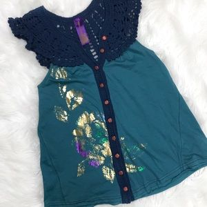 Free People Crocheted Teal Navy Tank Top XS